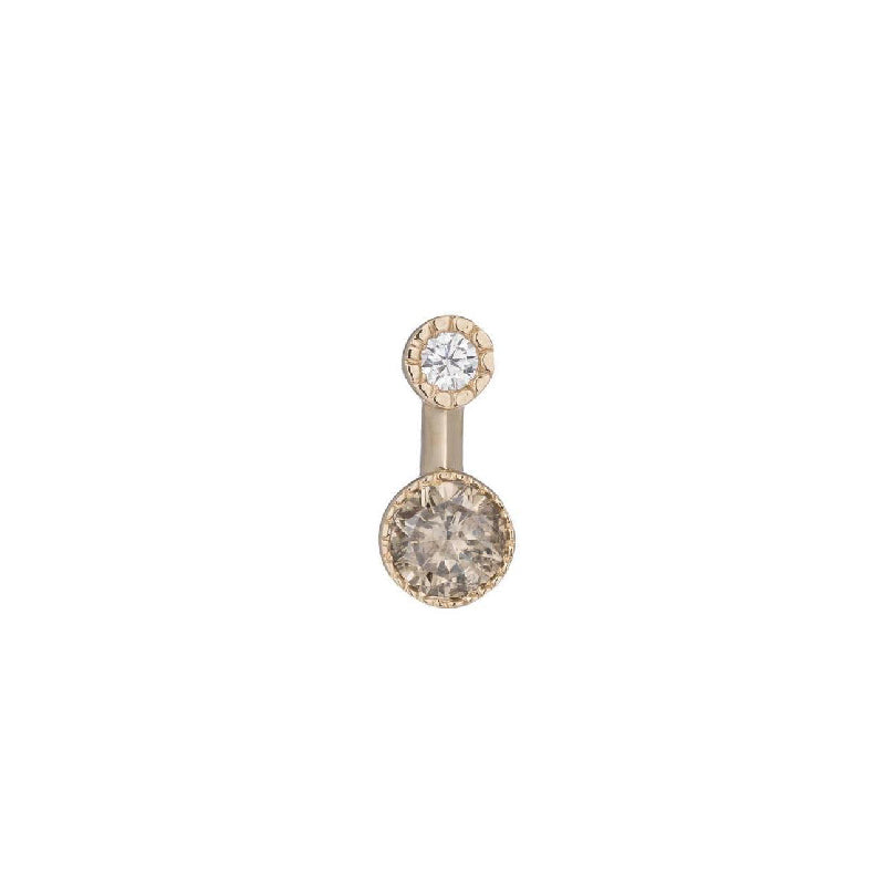 Round Champagne Diamond Drop Stud (Single)