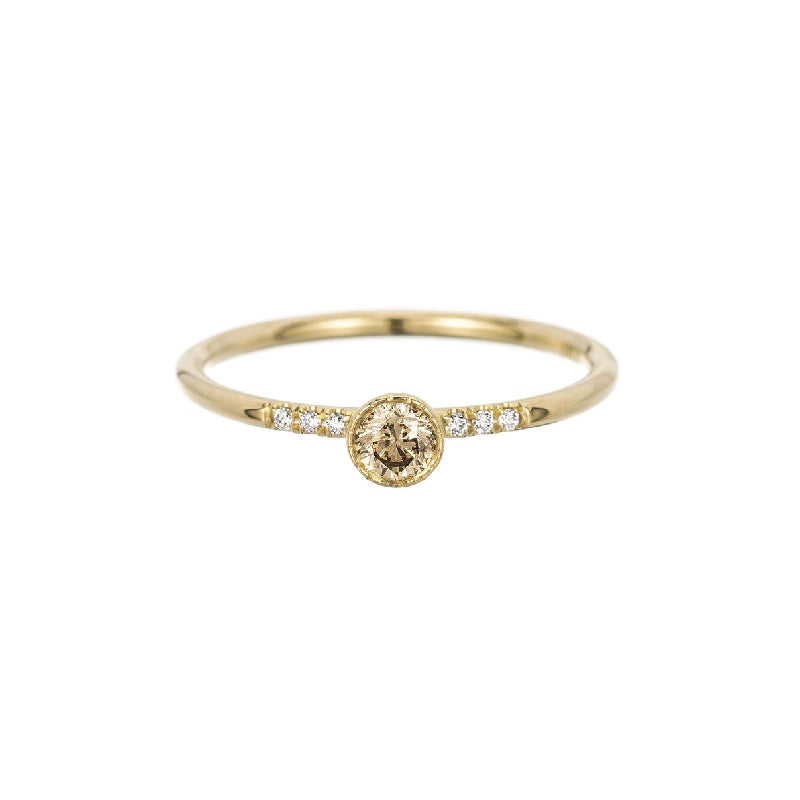 Round Champagne Diamond Equilibrium Ring