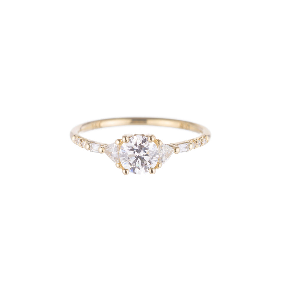 Round Diamond Trillion Baguette Equilibrium Ring
