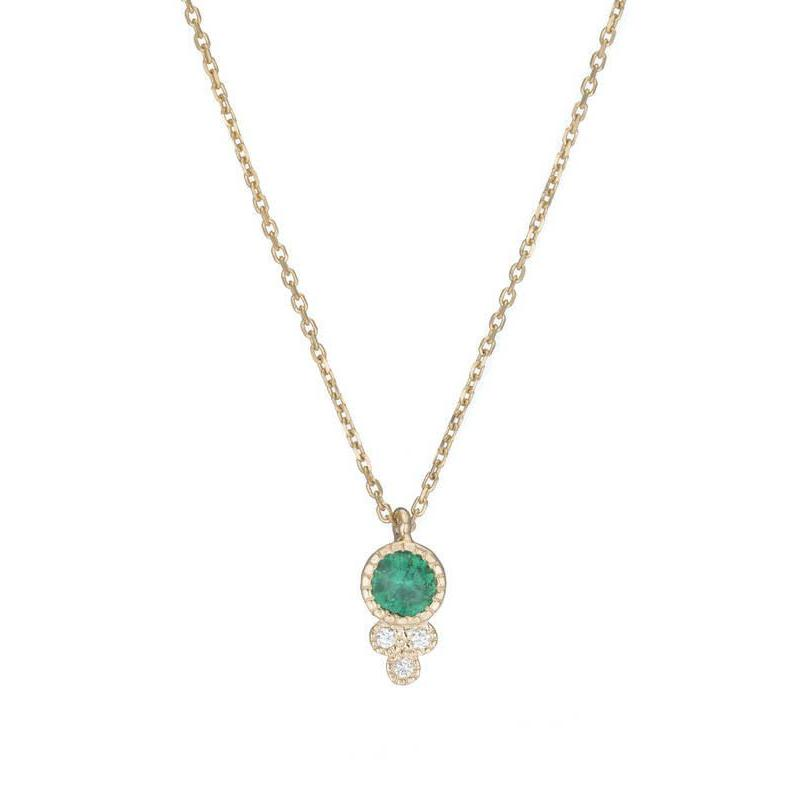 Round Emerald Crown Necklace