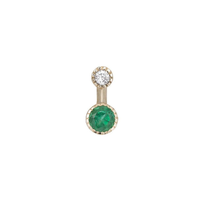 Round Emerald Drop Stud (Single)