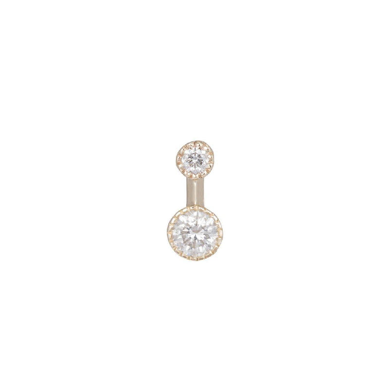 Round White Diamond Drop Stud