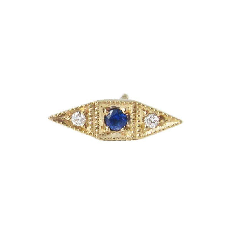 Sapphire Deco Point Long Stud (Single)