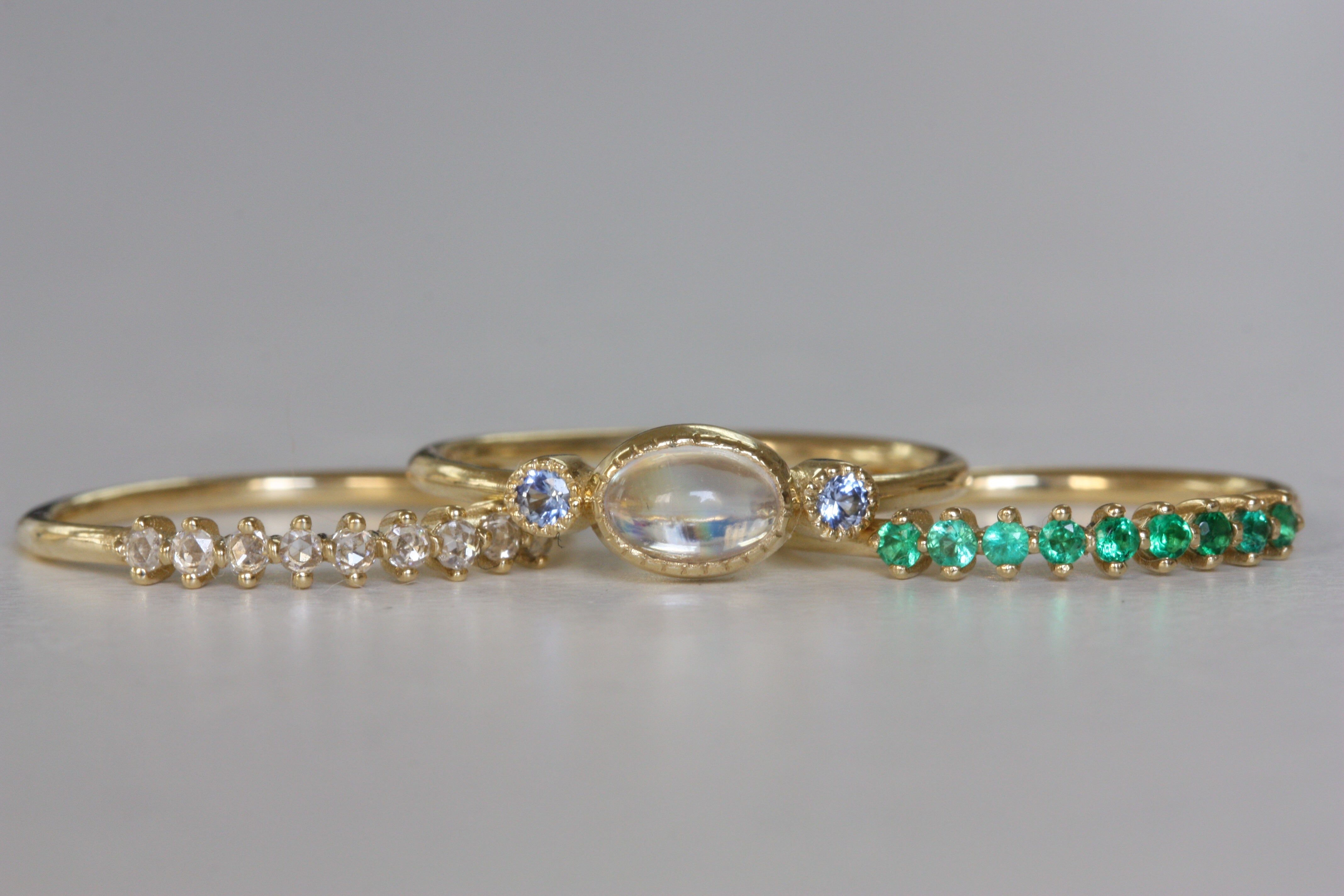 detail, Diamond Lace Ring, Moonstone Sapphire Reese Ring and Emerald Lace RIng.