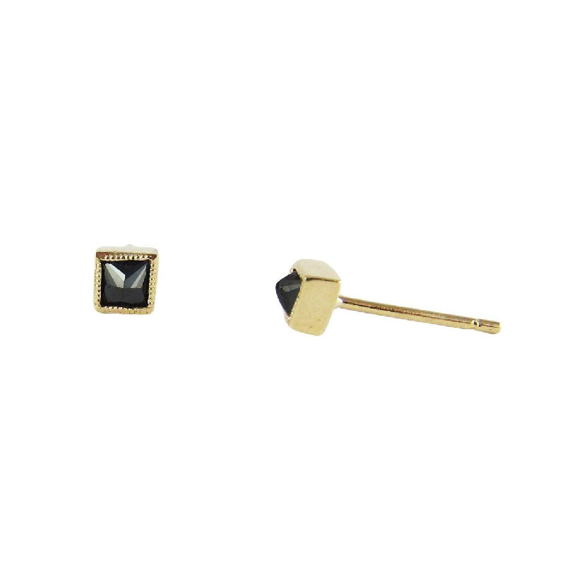 Square Black Diamond Earrings (Pair)