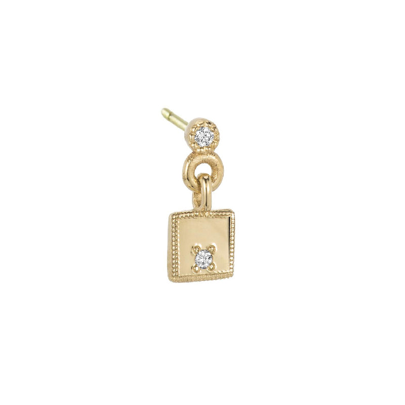 Square Diamond Mirror Dangle Earring (Single)