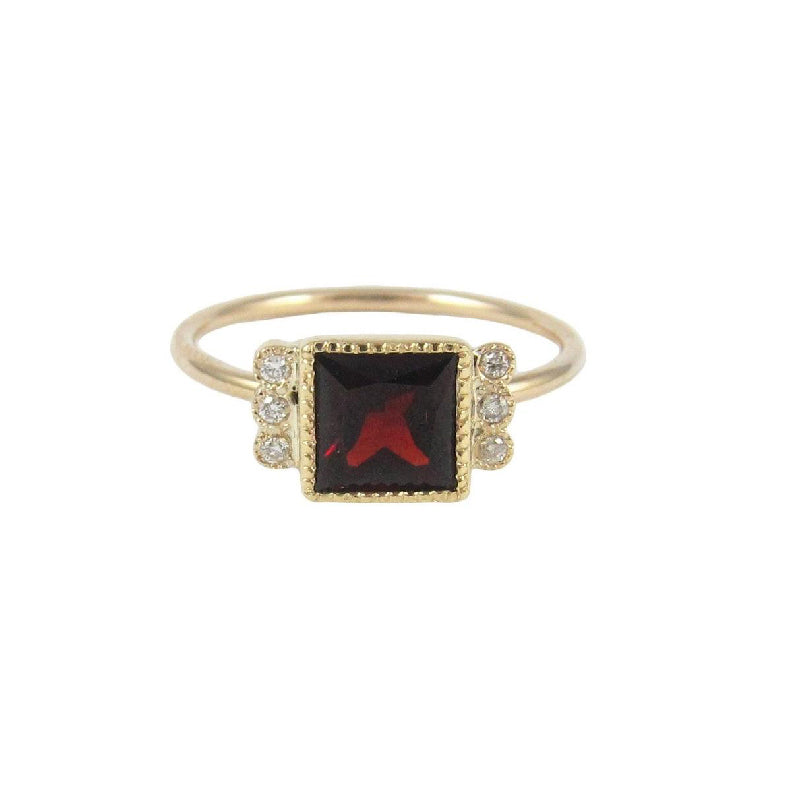 Square Garnet Deco Ring