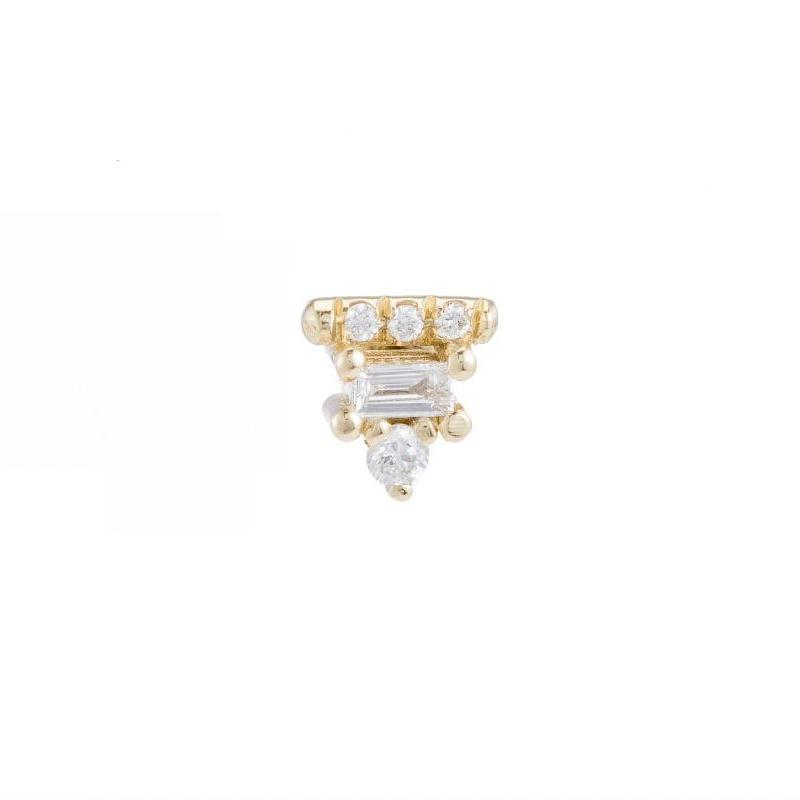 Diamond Baguette Bar Stud (Single)