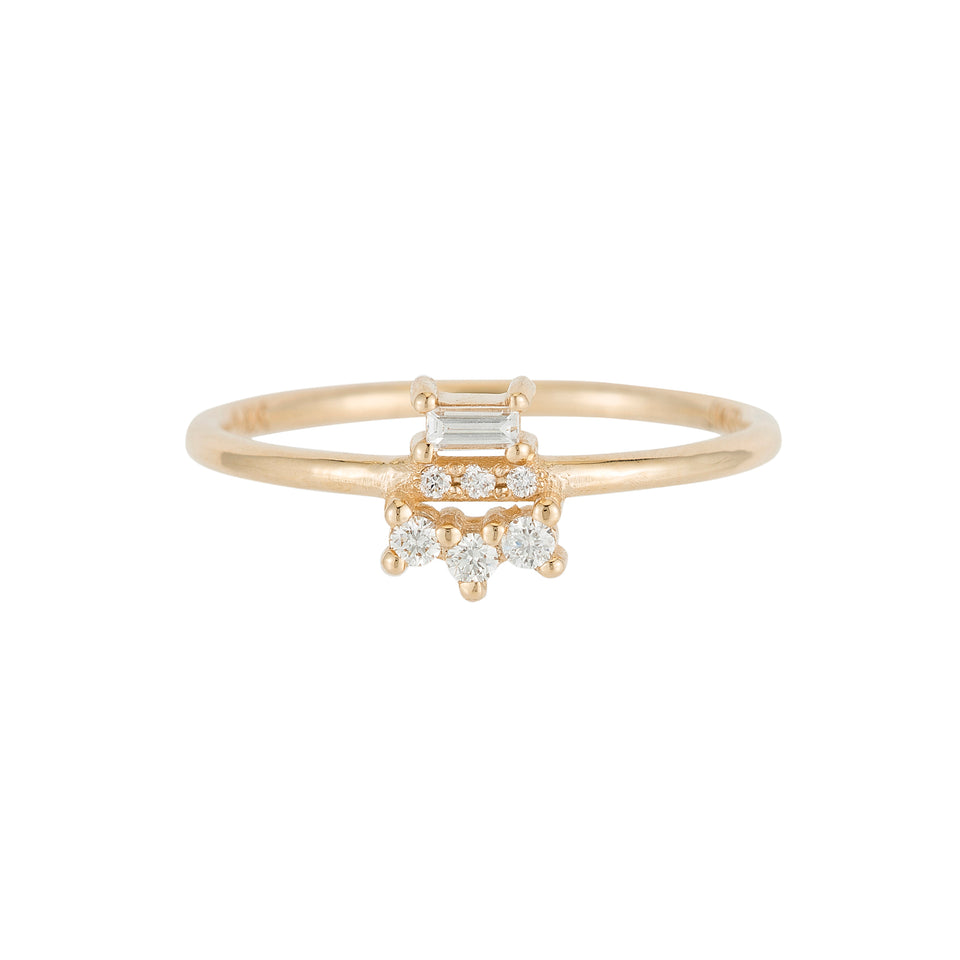 White Diamond Baguette Lace Ring