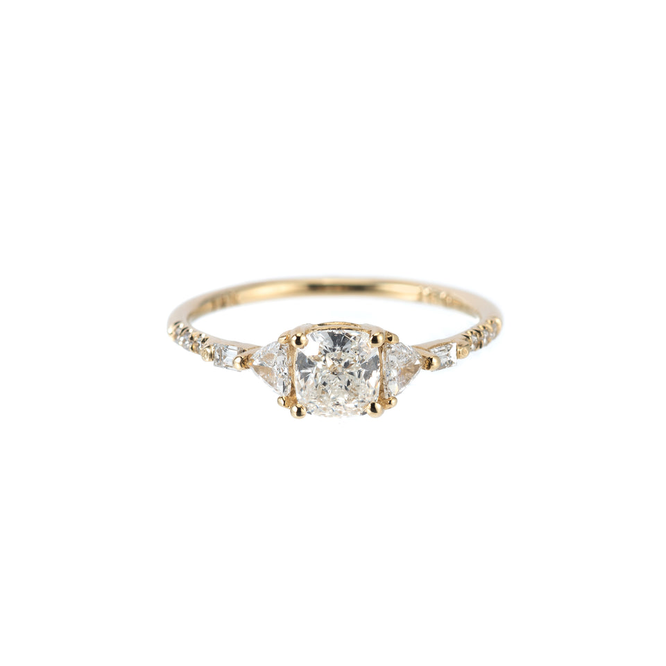 CUSHION TRILLION BAGUETTE EQUILIBRIUM RING