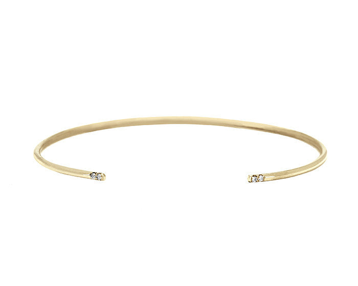 skinny gold cuff bracelet with white diamonds