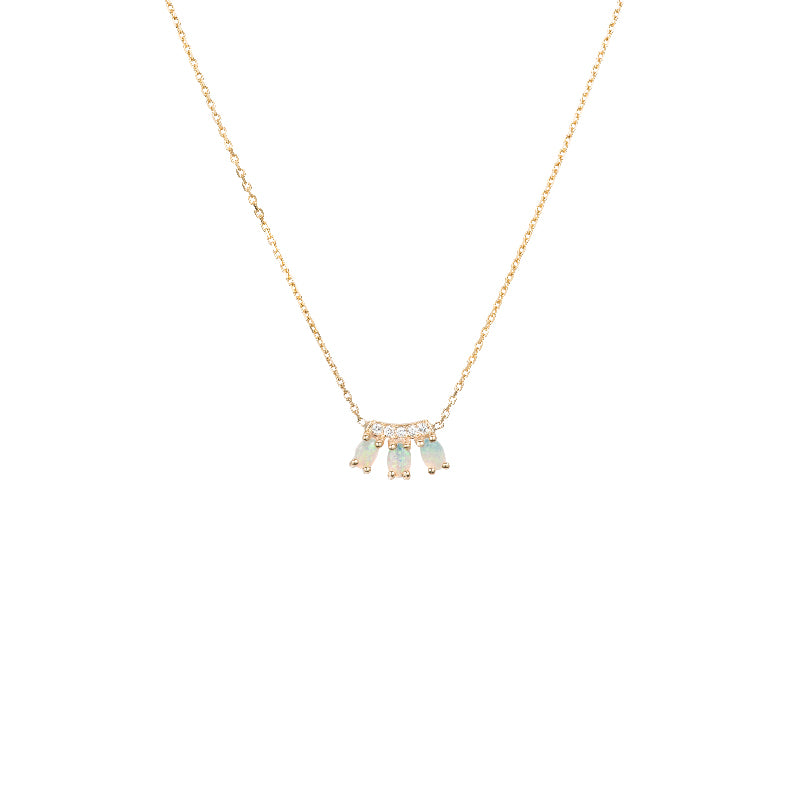 Diamond Opal Trio Necklace