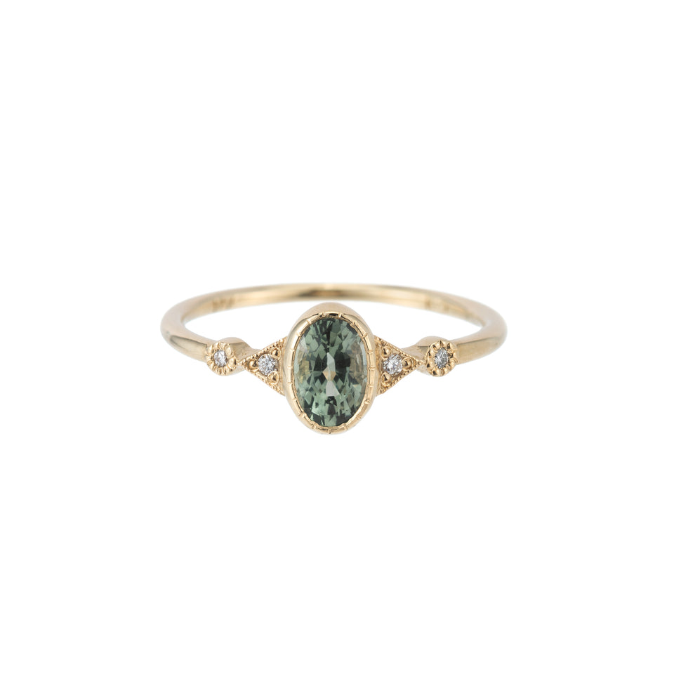 GREEN SAPPHIRE OVAL DUO DECO RING