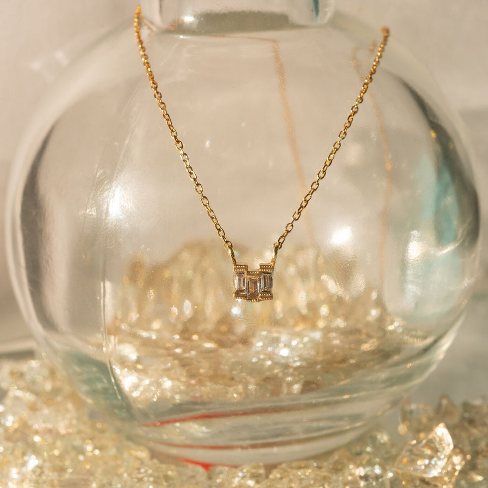 Diamond Baguette Step Necklace