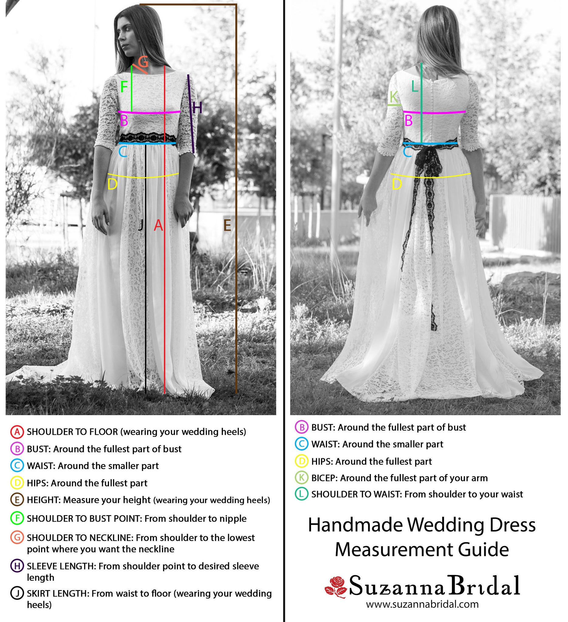 Suzanna Bridal Wedding Dress Measurement Guide