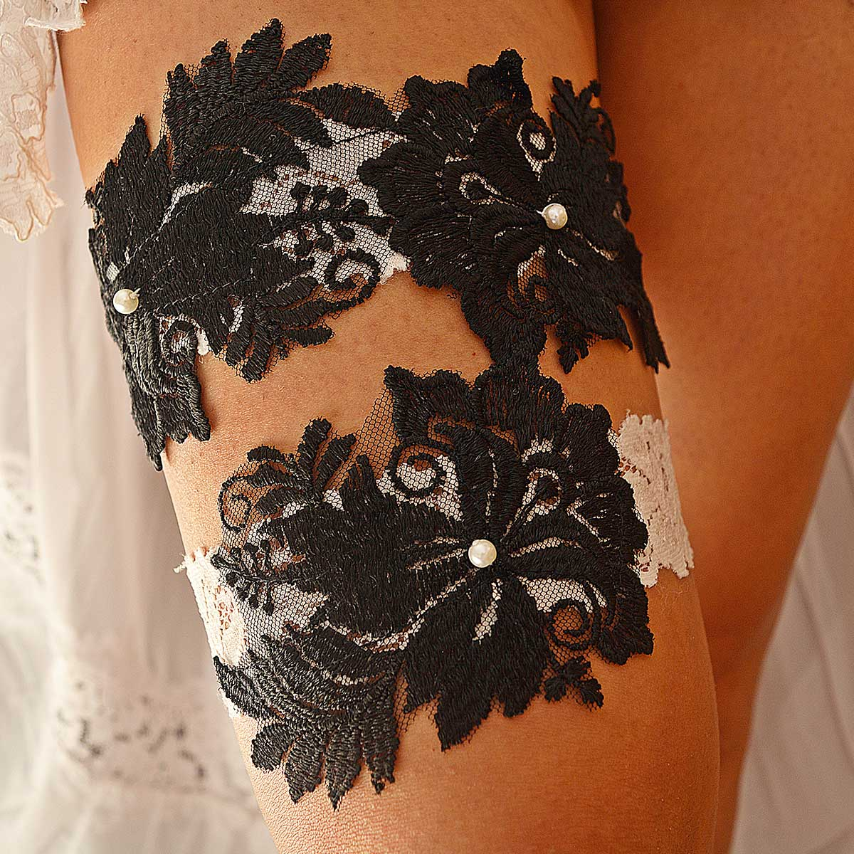 White Bridal Garter With Pearls & Black Flower Lace Applique - Wedding Garter - SuzannaM Designs
