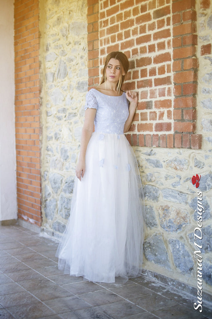 Agnese 50s Handmade Wedding Dress with Tulle & Blue Lace | Suzanna ...