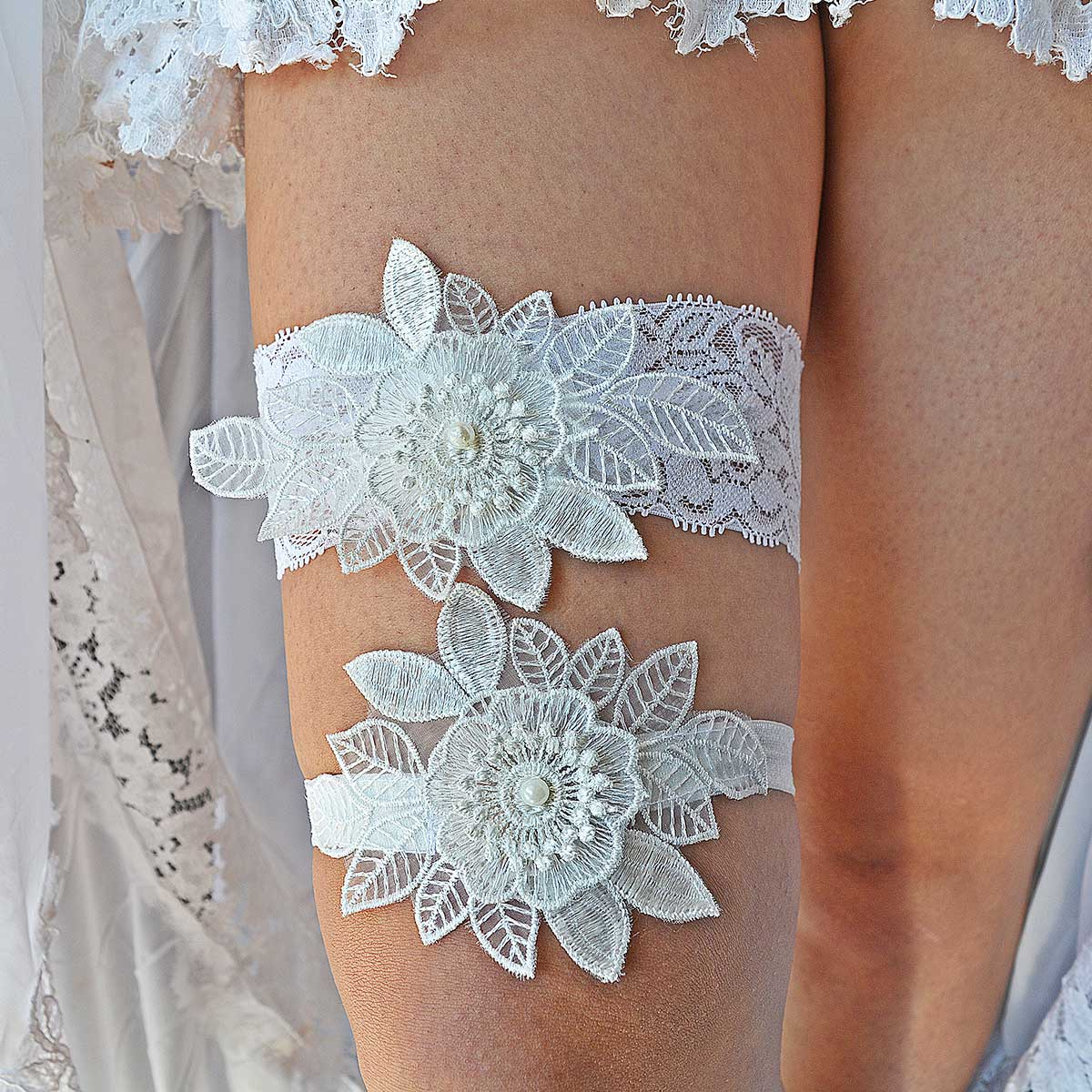 All White Bridal Garter With White 3D Lace Flower & Pearls