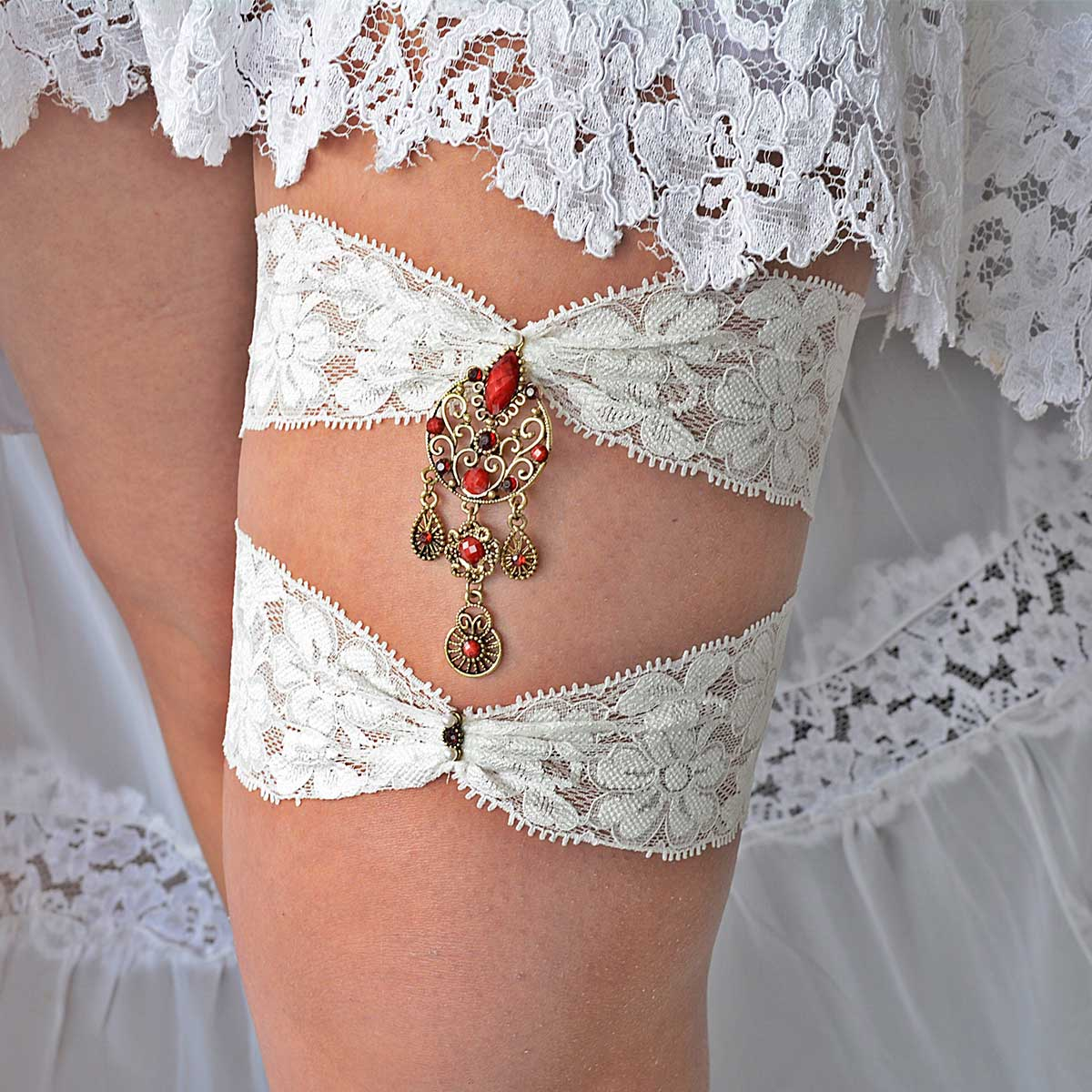 Antique Gold & Red Rhinestone Bridal Garter With Ivory Lace