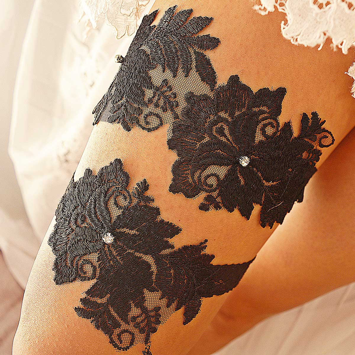 Black Bridal Garter With Clear Rhinestone & Flower Applique - Wedding Garter - SuzannaM Designs
