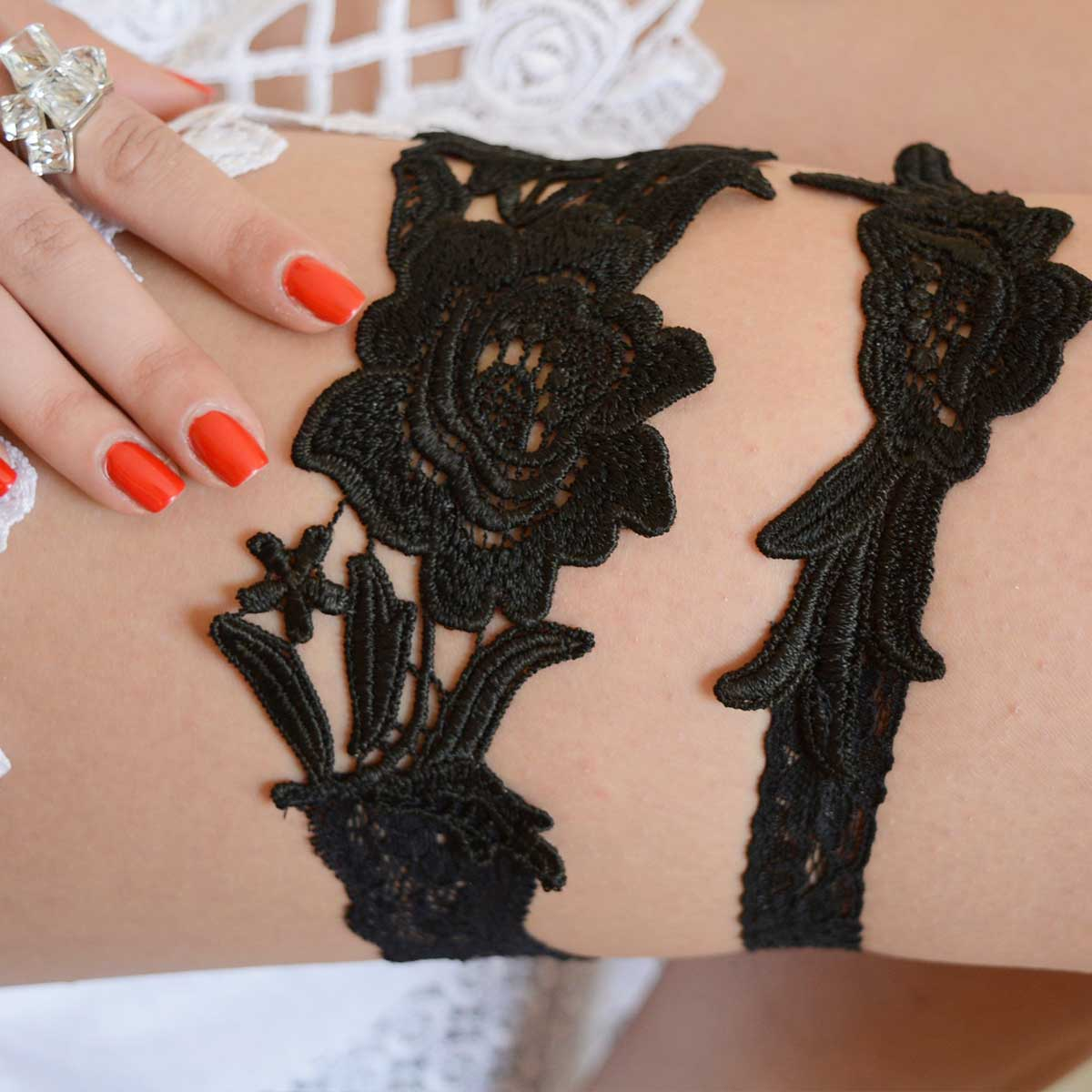 Black Wedding Garter Set Handmade