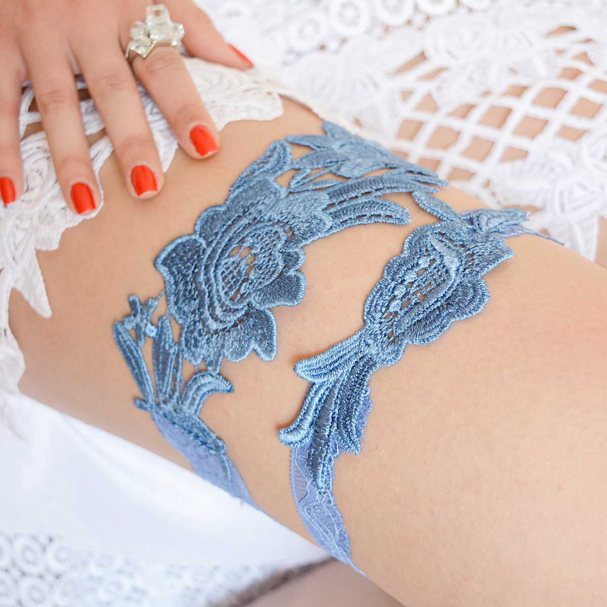Blue Wedding Garter Set Handmade