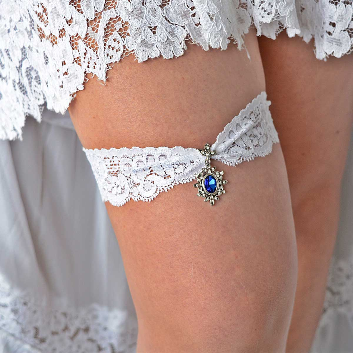 Blue & Clear Rhinestone White Wedding Garter Belt