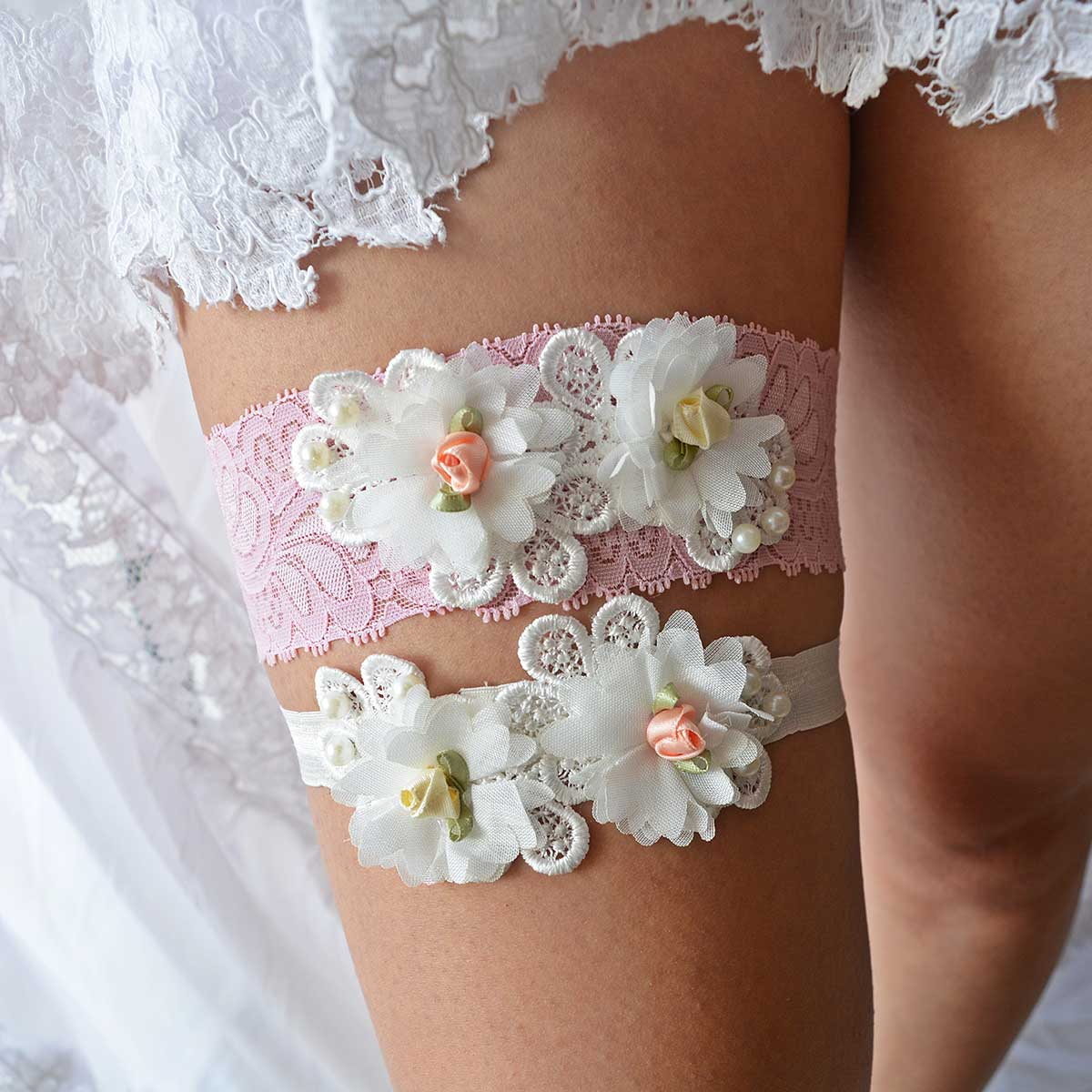 Blush Pink Bridal Garter With Ivory Pearls & Flowers Handmade