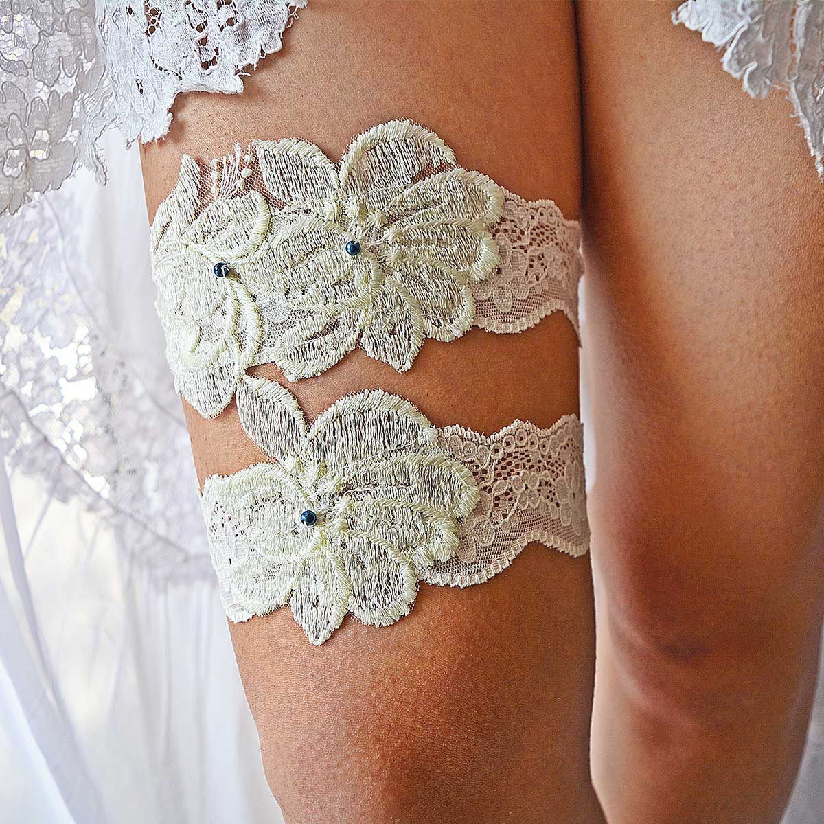 Bridal Garter With Ivory Applique Lace And Navy Blue Pearls
