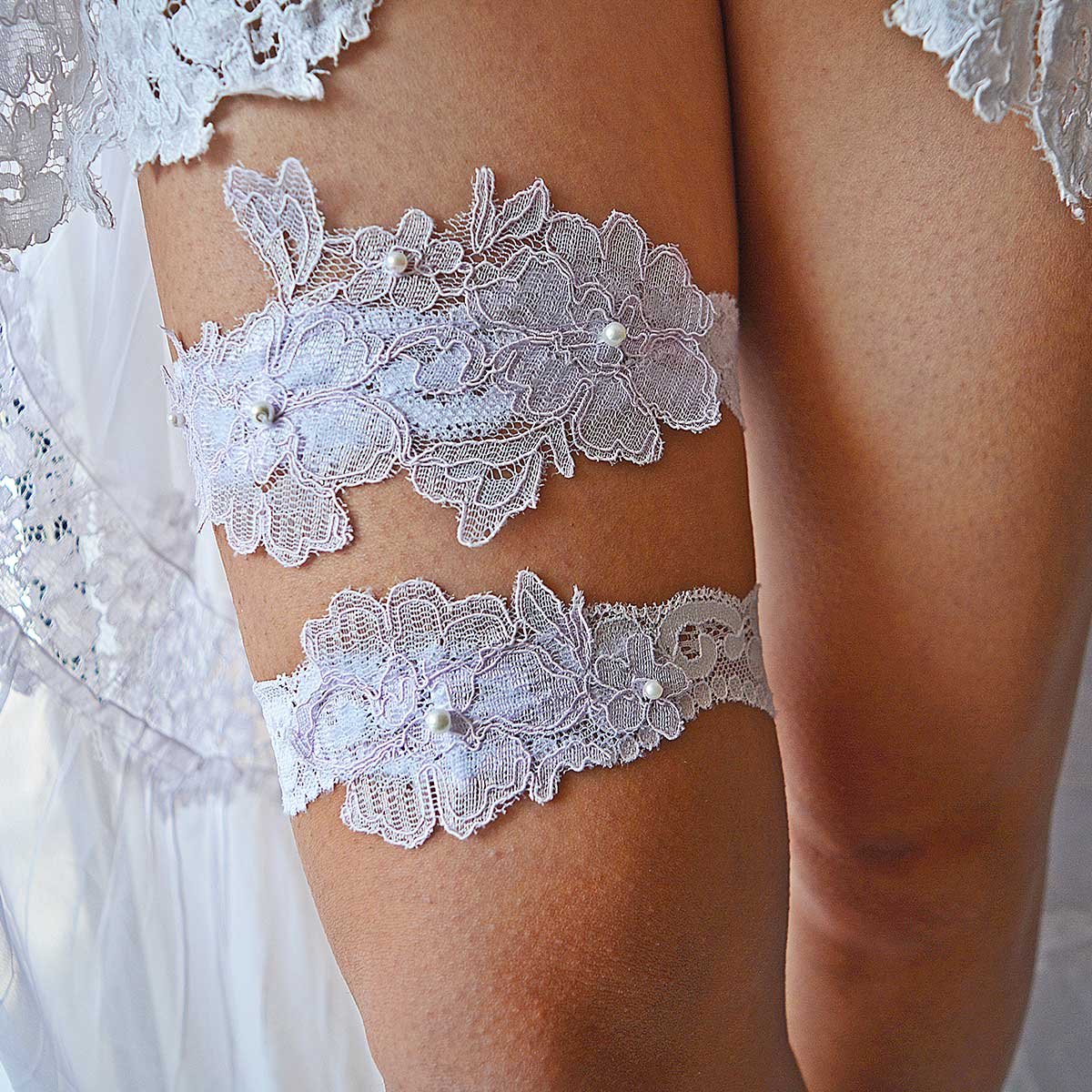 Bridal Garter With Lilac Applique And White Lace And Pearls
