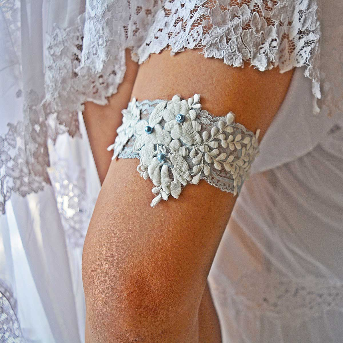 Bridal Garter With White Elastic And Pale Blue Applique Lace - Wedding Garter - SuzannaM Designs