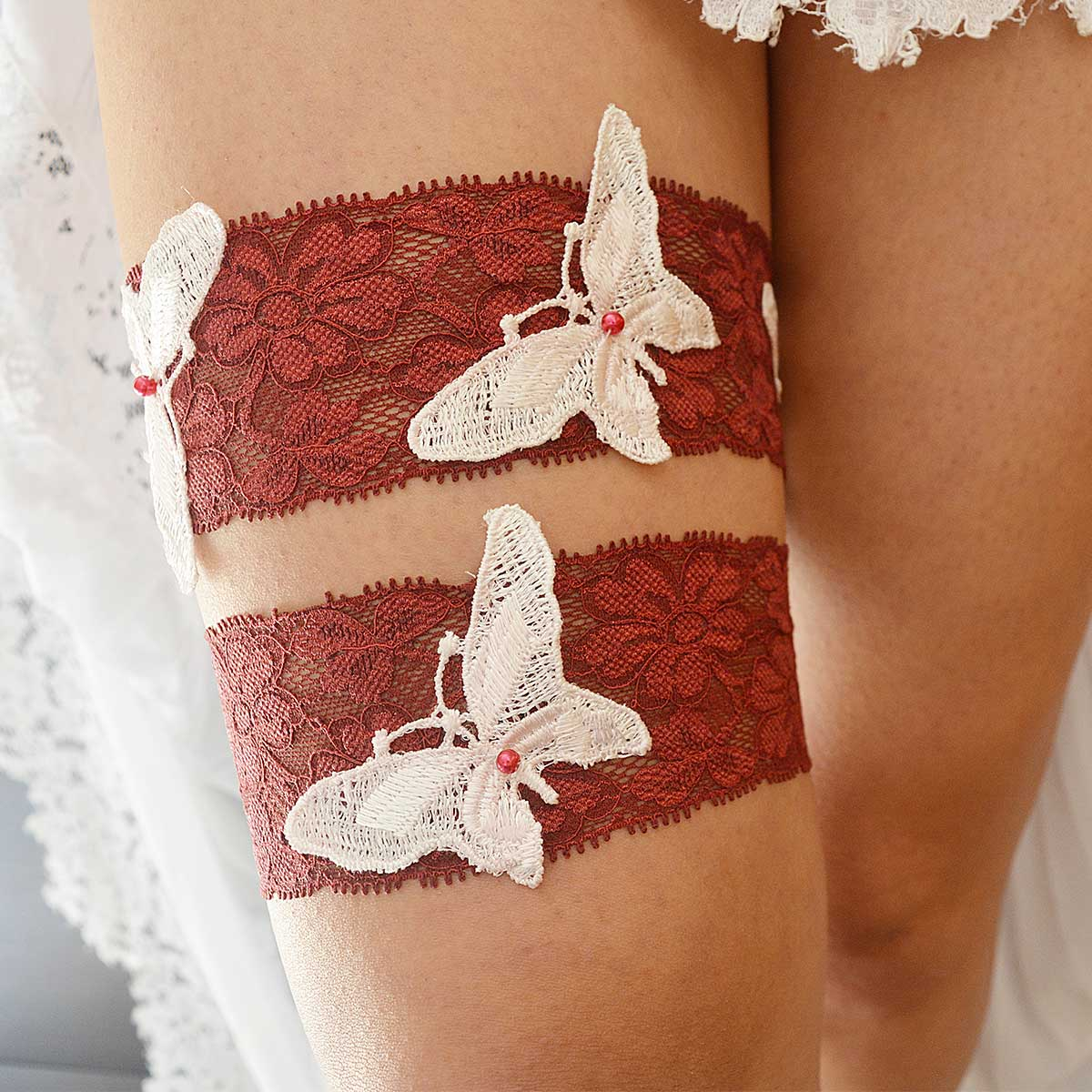 Burgundy Bridal Garter With White Butterfly Applique & Pearls