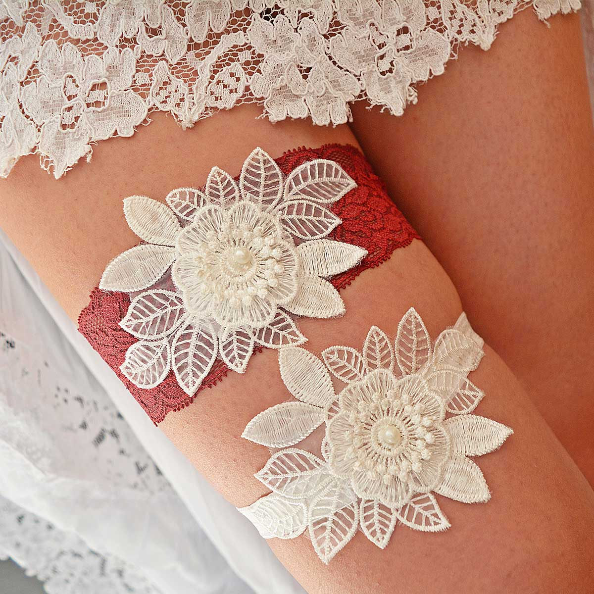 Burgundy Garter With 3D White Flower Applique & Pearls