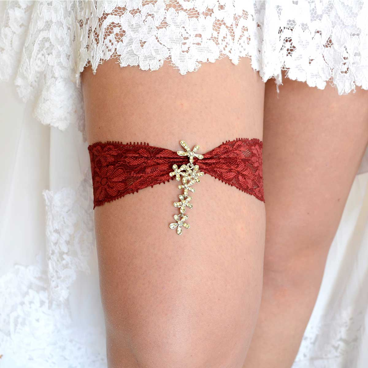 Burgundy Wedding Garter Set With Ivory Rhinestone - Wedding Garter - SuzannaM Designs