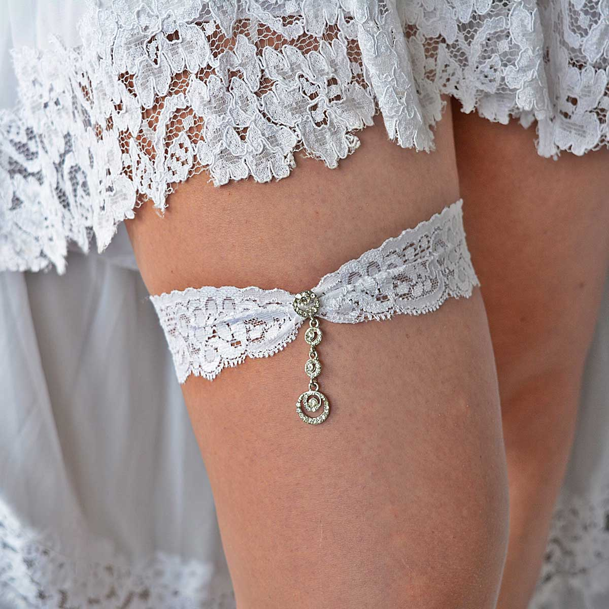 Clear Rhinestone White Lace Wedding Garter Belt