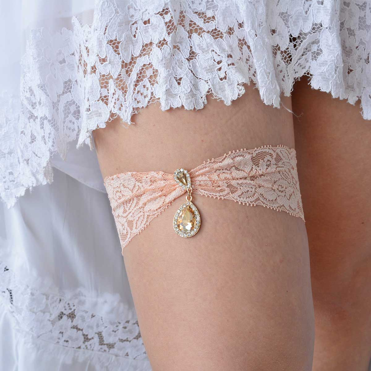 Clear & Champagne Rhinestone Garter Set With Peach Lace