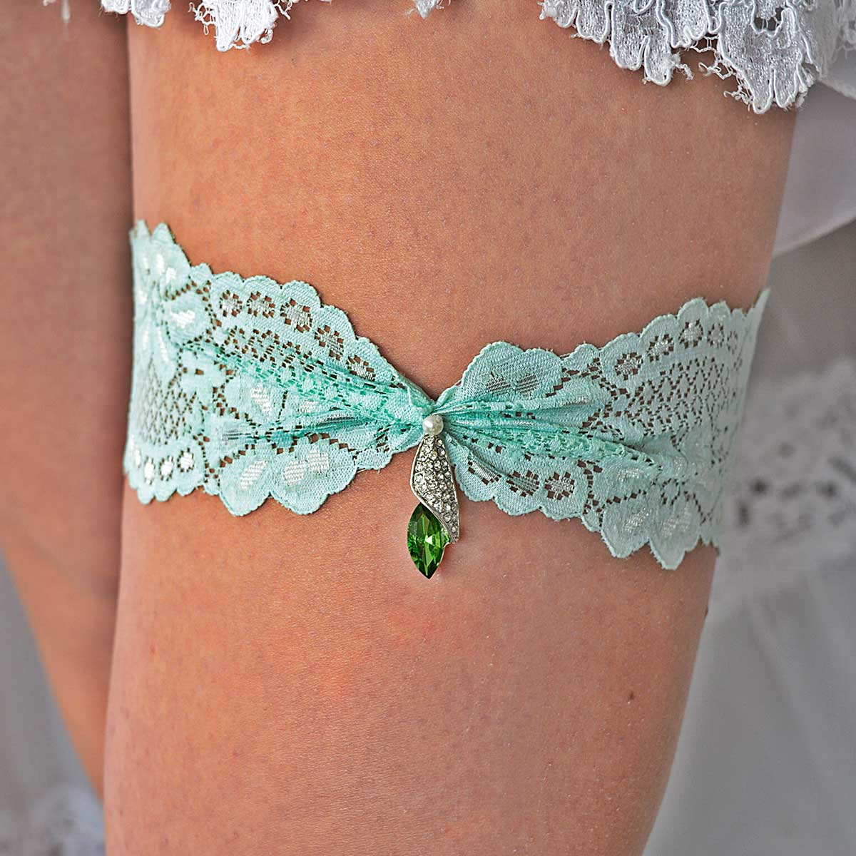Clear & Green Rhinestone Bridal Garter Belt With Mint Lace