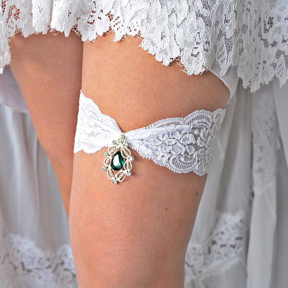 Clear & Green Rhinestone Bridal Garter Set With White Lace