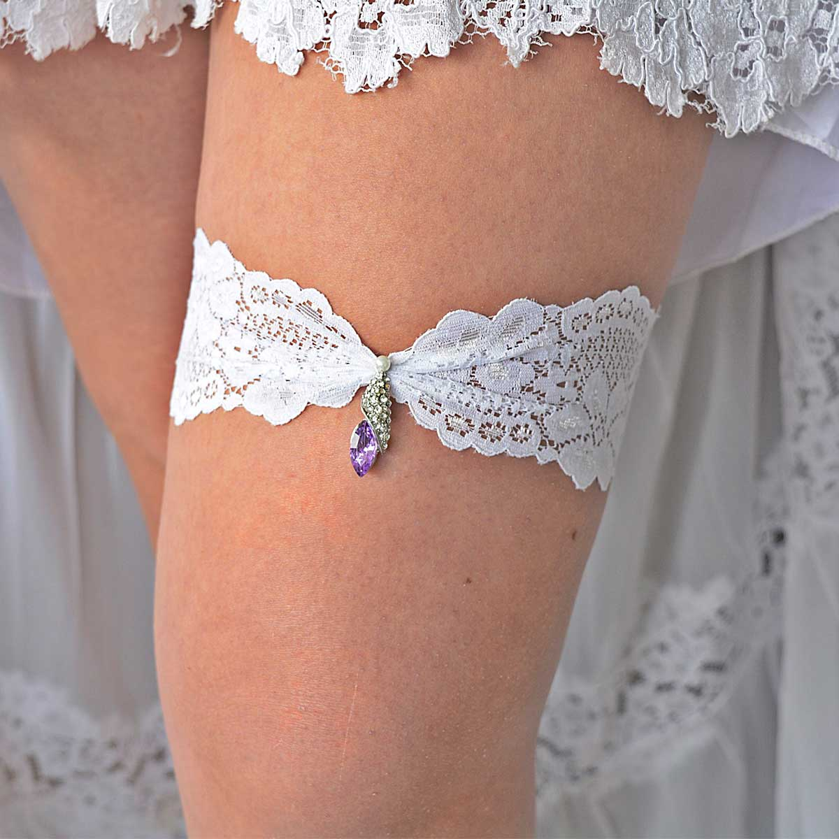 Clear & Lilac Rhinestone Wedding Garter Belt With White Lace