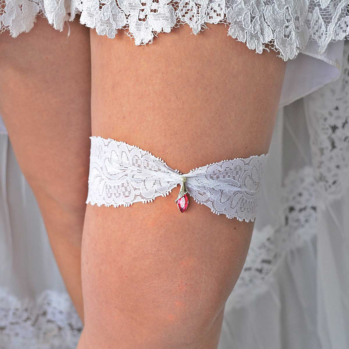 Clear & Pink Rhinestone Wedding Garter Belt - Wedding Garter - SuzannaM Designs