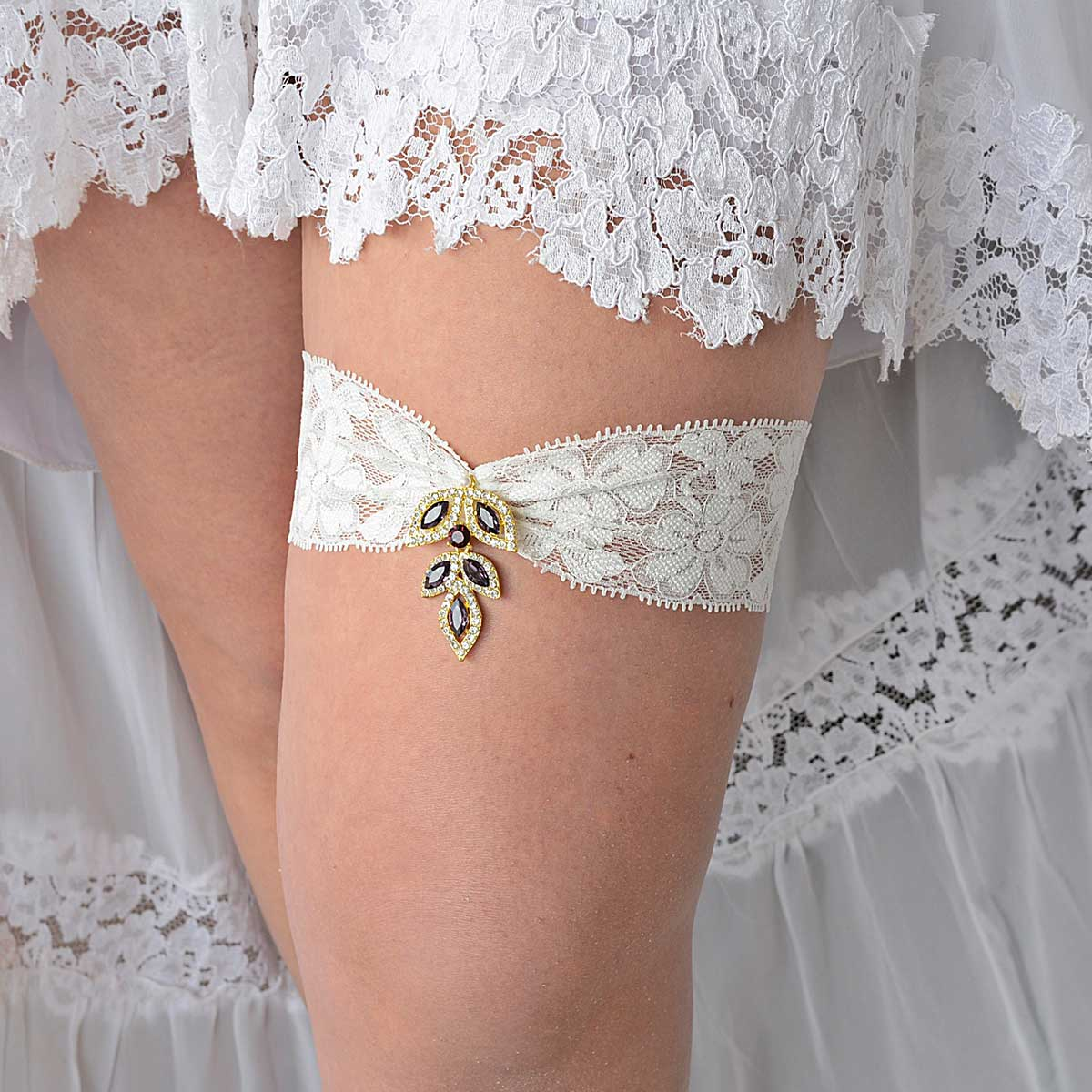Clear & Purple Rhinestone Gold Bridal Garter With Ivory Lace - Wedding Garter - SuzannaM Designs