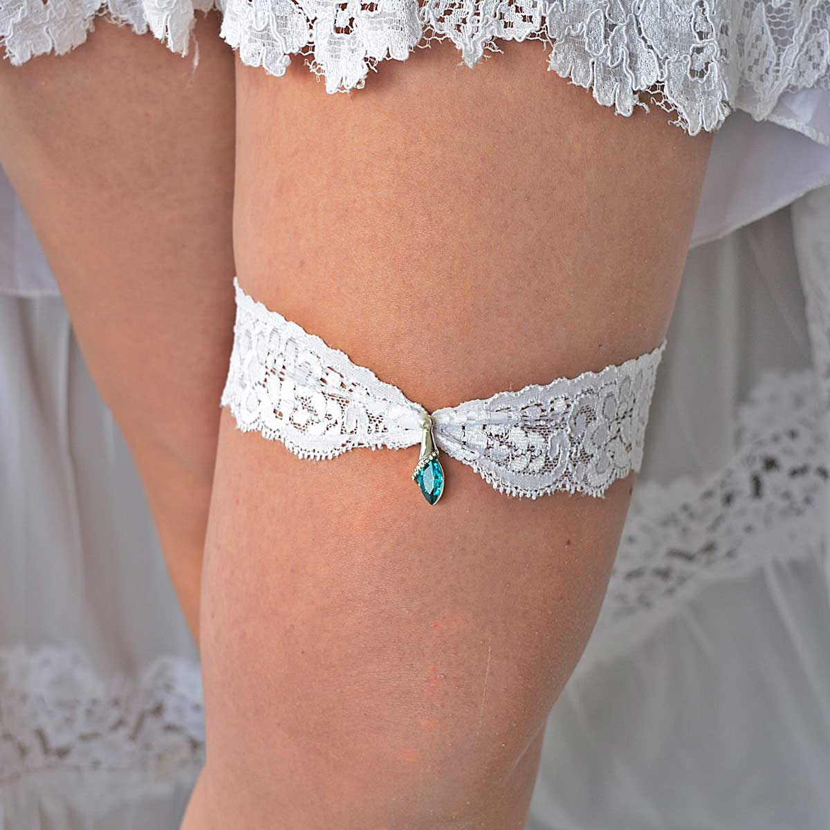 Clear & Turquoise Rhinestone Wedding Garter Belt - Wedding Garter - SuzannaM Designs