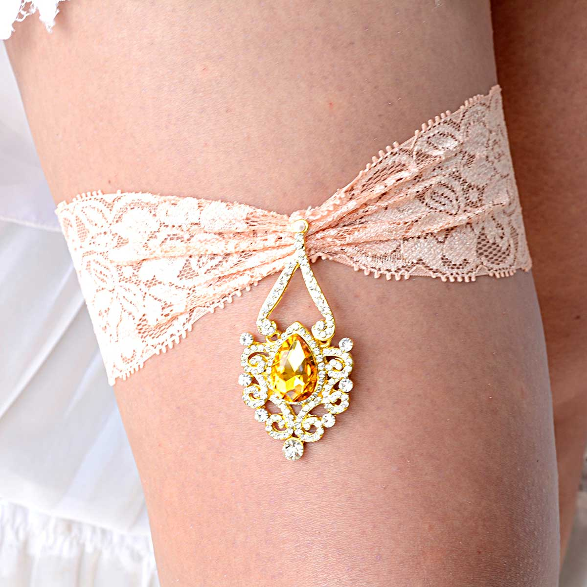 Clear & Yellow Rhinestone Gold Garter Set With Peach Lace - Wedding Garter - SuzannaM Designs