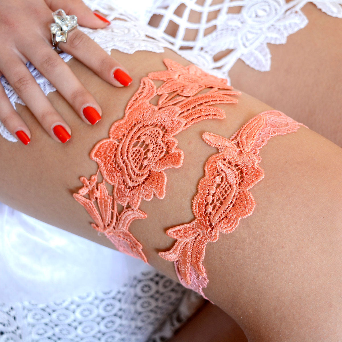 Coral Wedding Garter Set Handmade
