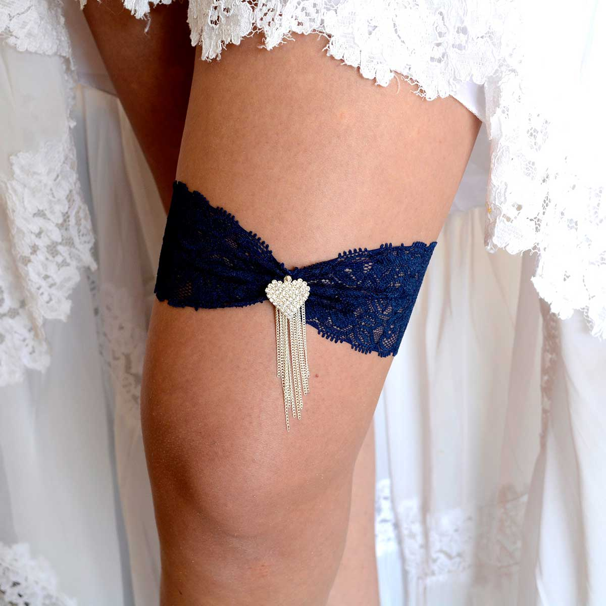 Dark Blue Elastic Bridal Garter Set With Clear Heart Rhinestone - Wedding Garter - SuzannaM Designs