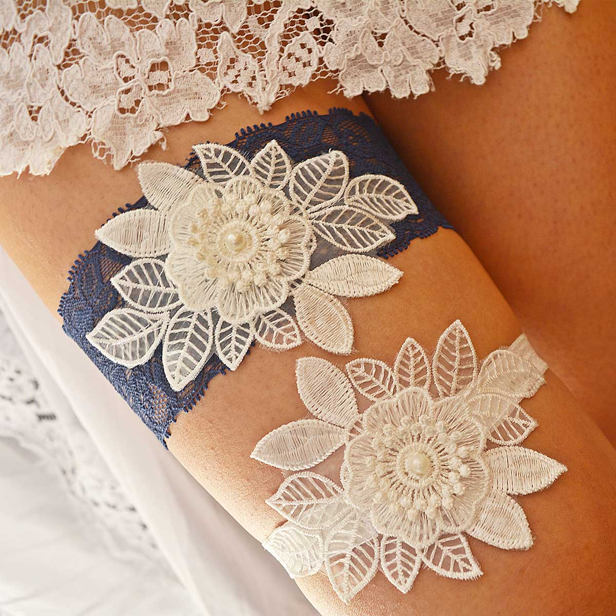 Dark Blue Garter With 3D White Flower Applique & Pearls