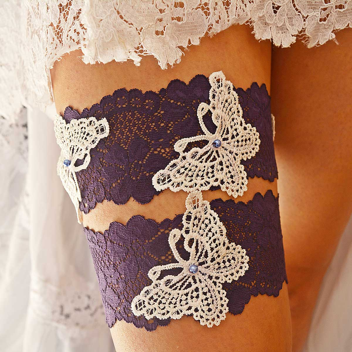 Dark Purple Garter With White Butterfly Applique & Pearls