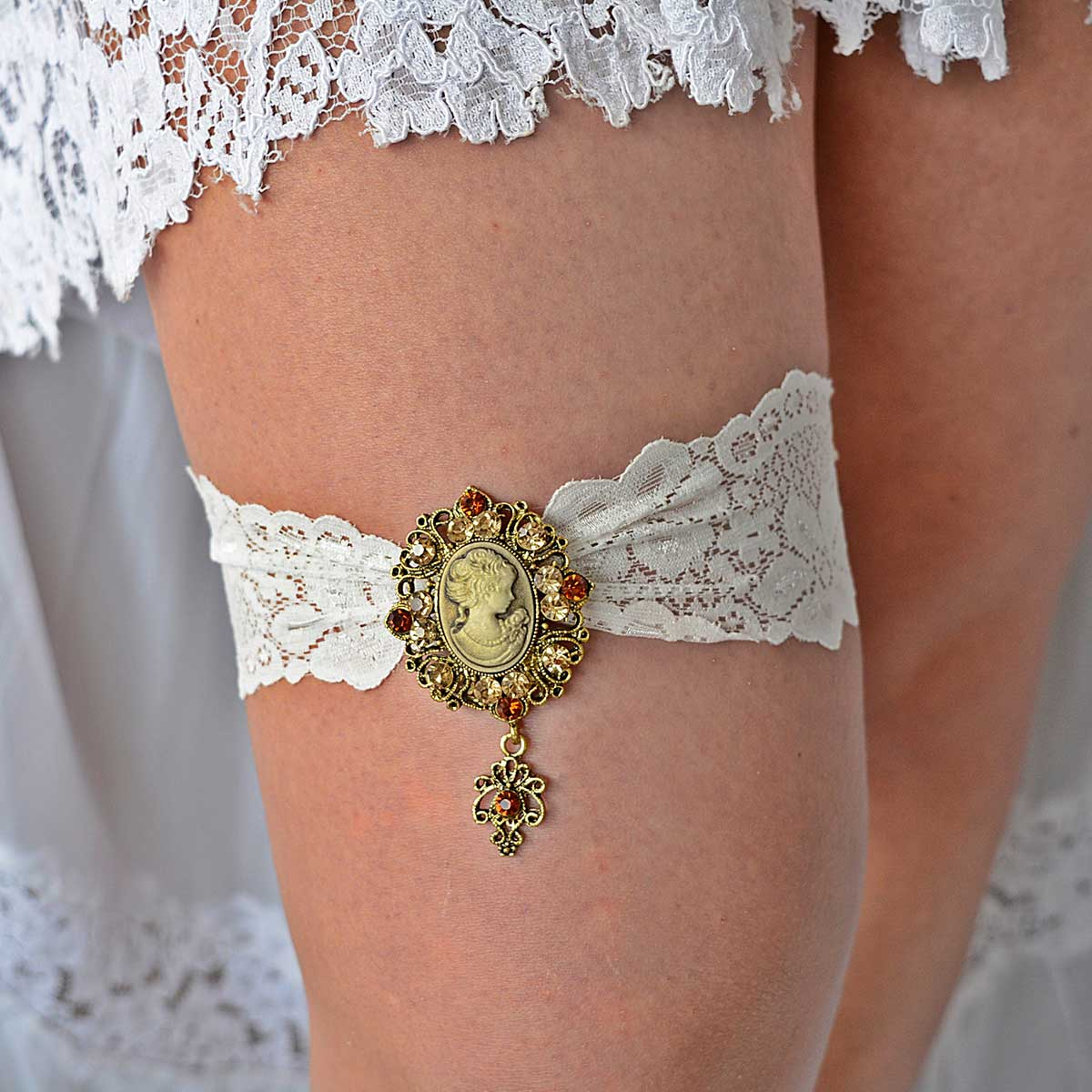 Elastic Ivory Bridal Garter Belt With Victorian Gold Rhinestone - Wedding Garter - SuzannaM Designs