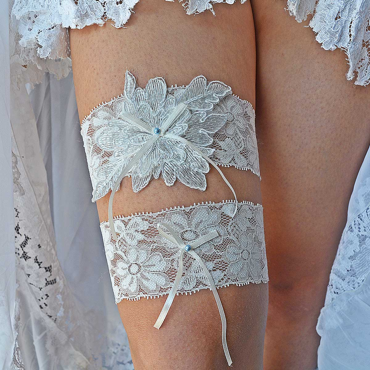 Garter With Off White Applique Lace & Blue Pearls & Bow