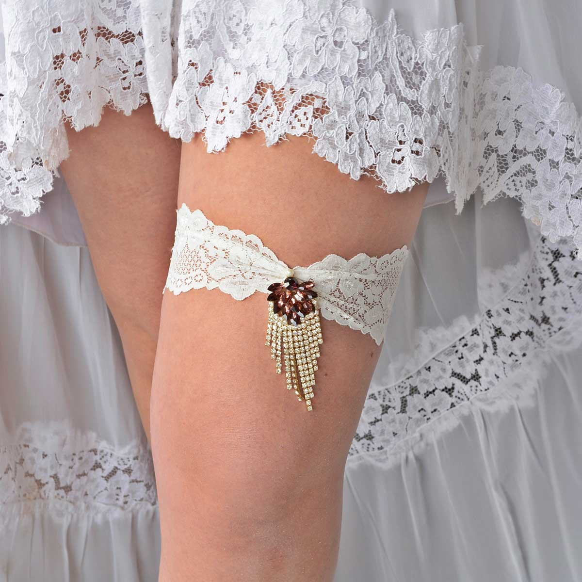 Gold & Plum Rhinestone Set of Bridal Garters With Ivory Lace